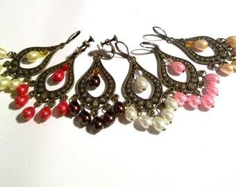 Chandelier Earrings, Bronze Pearl Tear Drop Earrings, 2.75 Inch Earrings, Available Colors, Select Ear Wires