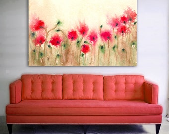 Art Print - Field of Poppies - Floral Art Wildflowers - Watercolor Painting