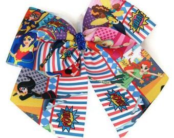 "Superhero Girls 7"" Hair Bow Harley Quinn Batgirl Poison Ivy Supergirl Bumblebee Katana Wonder Woman Bow"