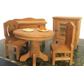 Vintage Wood Dining Room Doll Furniture Set, 5 Pieces, Doll House, Display, Photo Prop