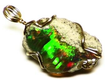 Black Opal Jewelry, Gold Black Opal Pendant, Natural Black Opal in 14k Gold (9.6 ct) Black Ethiopian Opal Wire Wrap, Gold Opal Jewelry Gift
