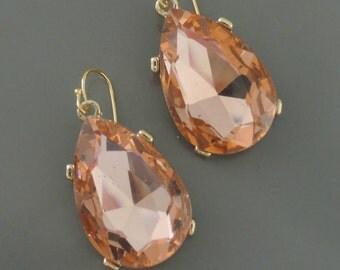 Statement Earrings - Gold Earrings - Crystal Earrings - Peach Champagne Earrings - Bridal Earrings - Bridesmaid Earrings - Teardrop Earrings