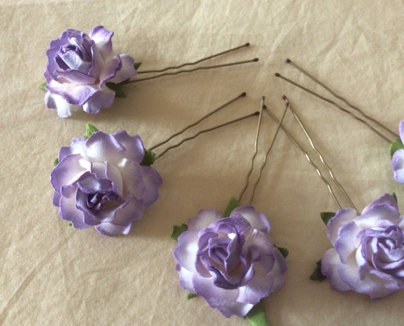 Rose Hairpins x 5 Paper Lilac/Ivory paper. wedding, Bridal, Regency, Victorian