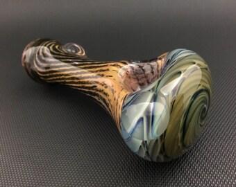 Vortex Glass Pipe w/ Black Frit // Hand Blown Color Changing Cobalt Spoon // Wrap & Rake