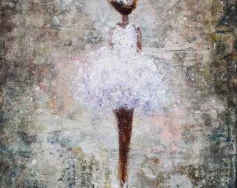 Abstract Figure Painting Ballerina Ballet Dancer Fairy Angel Dreamy girl How She Dreams 20x16x1.5
