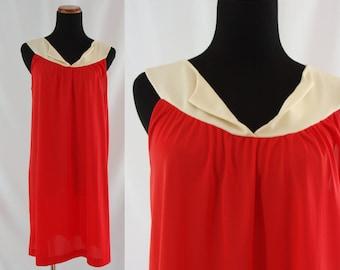 SALE Vintage Sixties Lingerie - 1960's Baby Doll Nightie - 60's Bright Red Color Block Babydoll - Vintage Nightgown - Vintage Nightie