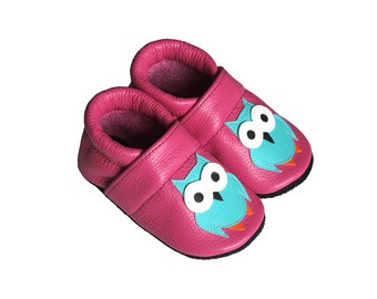 Leather Baby Booties, Baby Shoes, Owl Shoes, Infant Newborn Nursery Children, Pink, Turquoise