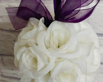 Wedding flower ball, Pomander, Flower girl bouquet, purple and white Wedding decorations