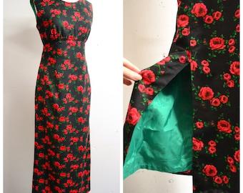 1960s Black & red rose print cotton empire line maxi dress / 60s floor length split evening dress - S M