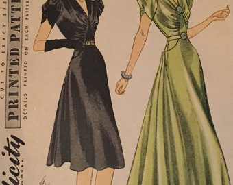 Vintage 1930's Simplicity Evening Gown Pattern 3208.  Rare 1930s Simplicity Pattern. Art Deco Evening Gown Sewing Pattern, Uncut, Bust 40
