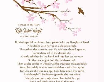In Memory of Daughter-Loss of Daughter-Daughter Memorial Print-Daughter in Heaven-Sympathy/Condolence Gift-If Raindrops Fall In Heaven Poem