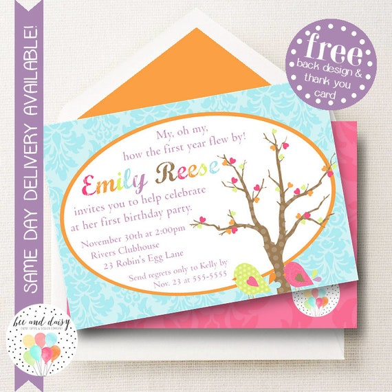 Bird Invitation Bird Birthday Invitation Bird Birthday Party Bird