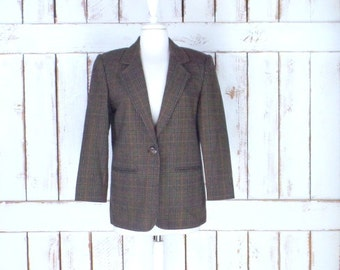 Vintage womens brown plaid mens style wool blazer/plaid twill wool jacket/Prophecy by Sag Harbor/4 petite