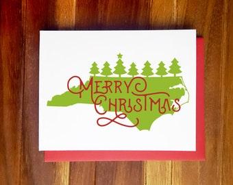 North Carolina Christmas Card - Custom State Holiday Card - Single Card and Card Sets