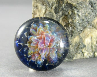Purple Floral Lampwork Glass Cabochon - Jewelry Making Supply