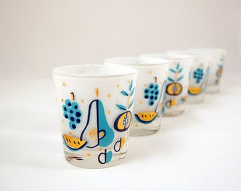 Vintage Teal & Gold, White Frosted Lo Ball Cocktail Glasses