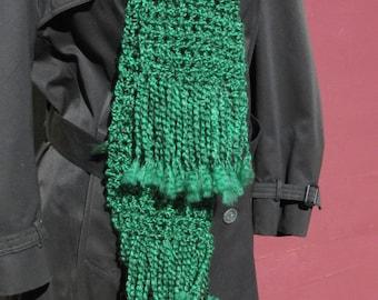 Mans Womans Irish Green Scarf Oversize 100x5 Extra Long Easter Chunky Thick Super Bohemian Crochet Knit Handmade Boho Easter Springtime