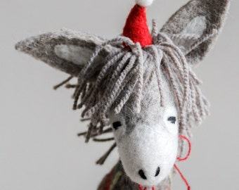 Dominick - Felt  Donkey. Art Toy. Organic toy. Felted Toys. Christmas gift Felt animals Marionette. Felt Toy. grey natural undyed wool