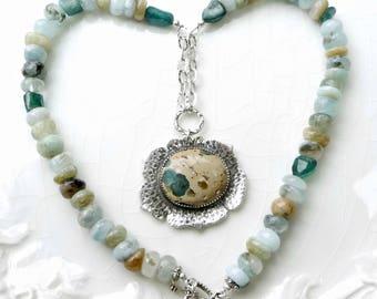 Mermaid Treasure Poppy Pendant - Aquamarine, Tourmaline and Jasper Pendant;  Sterling Silver, Crystal, Hand Crafted Bead, OOAK