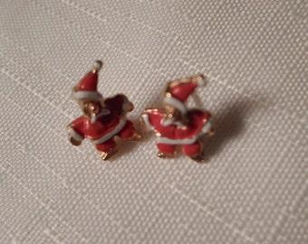 CHRISTMAS EARRINGS / Santa Claus / Enamel / Red / Gold / Holidays / Seasonal / Moderist / Art Moderne / Retro / Kitsch / Trendy Accessories