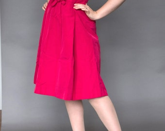 50s party dress / Red Magenta / 1950s / Small