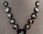 WW2 South Pacific Souvenir Heart & Disk Link Silver Inlay Necklace