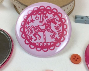 Carousel Pink Unicorn Pocket Mirror, Papercut Style Merry Go round Mirror, Gift for Her,