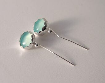 sterling silver earrings with aqua chalcedony and silver ball
