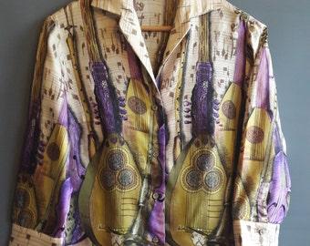 1960s silk shirt border print novelty print blouse vintage novelty print lutes and woodwinds vintage music print blouse musical shirt