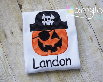 Halloween Jack O Lantern Pirate Toddler Tee Shirt - Personalized - Embroidered - Boy - Pumpkin - Trick Or Treat
