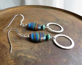 rainbow calsilica earrings. BLUE JEANS. silver earrings. earthy earrings. blue stone earrings. hammered hoop earrings. turquoise earrings