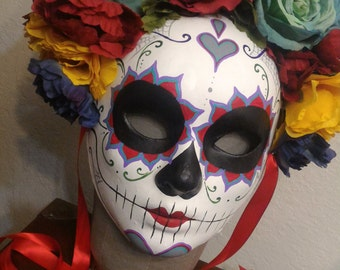 Sanora Catrina Day of the Dead Mask - Day of the Dead Heart and spider webs Skeleton sugar Skull Bones Dia De los Muertos Calavera mask