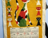 On Hold For Susuan Vintage 1971 Linen Towel Calendar Wall Hanging Mid Century Modern Kitsch Kitchen Home Decor