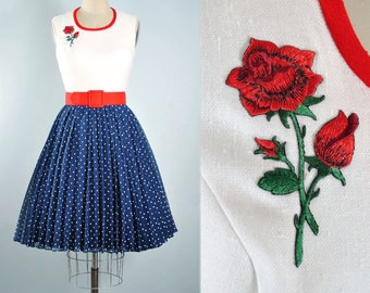Vintage 60s Dress / 1960s Cotton Sundress Embroidered Red ROSE Floral Applique POLKA DOT Navy Blue Full Skirt Garden Pinup Party M Medium