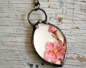Peach Blossom Necklace, Real China Plate Made Pendant, Pink & White Necklace, Broken China Jewelry, Broken Dish, China Pendant (2753)