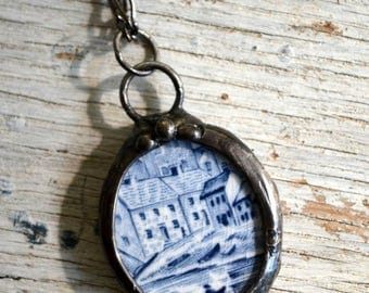 Broken Plate, Broken China Jewelry, Blue & White Necklace, Handcrafted Jewelry, Vintage China, China Jewelry, Broken Pottery  (2618)