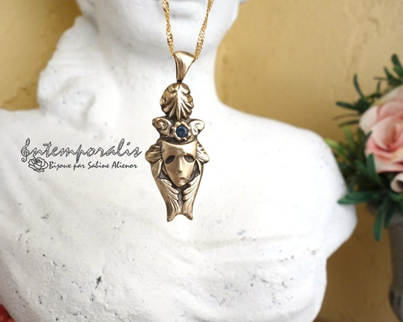Bronze venitian mask and blue cubic zirconium pendant, OOAK, SAPE11