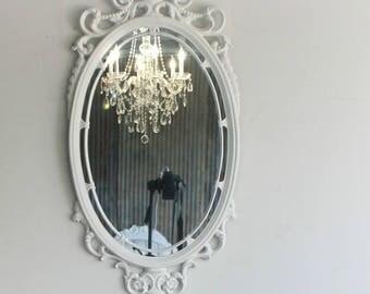 H O L L Y W O O D  , Baroque White Mirror, South Beach, Regency, Florida,  Mirror, Fancy Mirror, Oval Mirror