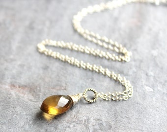 Honey Quartz Necklace Pointed Faceted Briolette Sterling Silver Pendant Gemstone Necklace