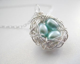 Bird Nest Jewelry, Three 6-7mm Robin's Egg Blue Pearls, Wire Wrapped Nest Pendant on Chain Necklace