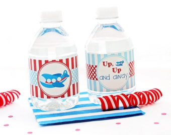 Airplane Water Bottle Labels, Airplane Bottle Wraps, Airplane Party, Airplane Birthday, Airplane Bottle Labels, Water Bottle Stickers