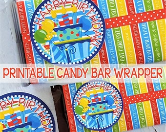 BIRTHDAY Candy Bar Wrapper, Birthday Gift Tag, Happy Birthday, Printable Party Favor, Birthday Printables (BRIGHT) - Instant Download