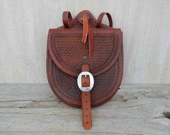 leather saddle bag  handcrafted tooled leather  rustic western leather accessory   cowboy saddlebag