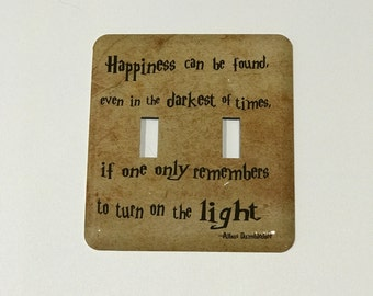 NEW PARCHMENT Double Switch Plate -  Dumbledore Quote Light Switch Plate - Happiness Can Be Found -