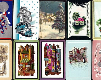 10 Different HOUSES Vintage Trading Swap Playing Cards Home Village Cityscape Cottage Dwellings Stylized French Architectural Ephemera