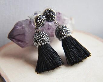Tassel Earrings, Festival Earrings, Bohemian Style, Crystal Earrings, Everyday Earrings, Boho Earrings, Black Tassel Earrings, Pave Crystal