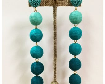Bon Drop Earrings // 6 tier with a beaded stud top // ombre turquoise