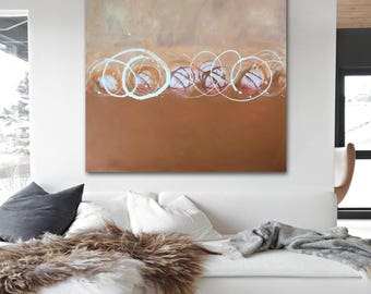 GiDDYUP original abstract painting by Linnea Heide - 36x36 acrylic on canvas neutral decor minimal circles geometric monochromatic gold