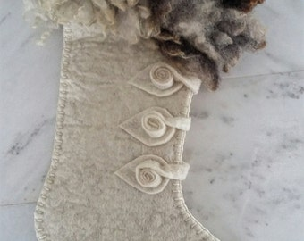 Large Christmas Stocking with fur cuff white Vanilla Wafer