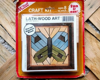 Vintage McNeil Lath-Wood Art Kit - Butterfly Design #1244.